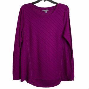 Daisy Fuentes Long Sleeve Purple Tee XL